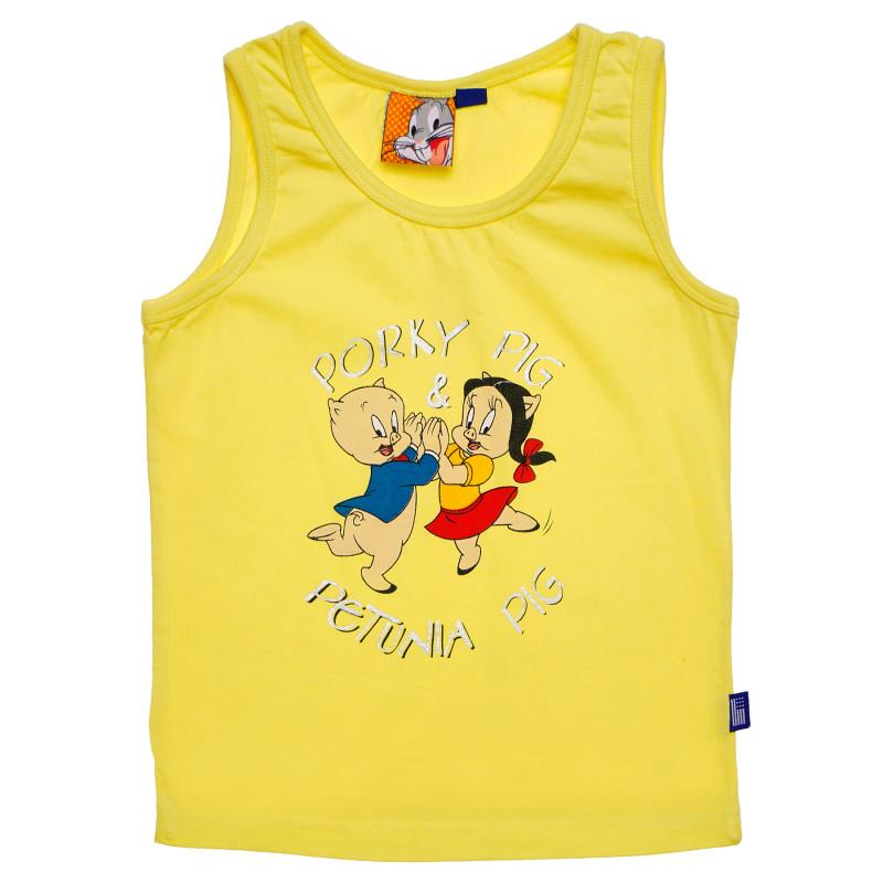 Βαμβακερό αμάνικο μπλουζάκι για κορίτσια, σε κίτρινο χρώμα  189154