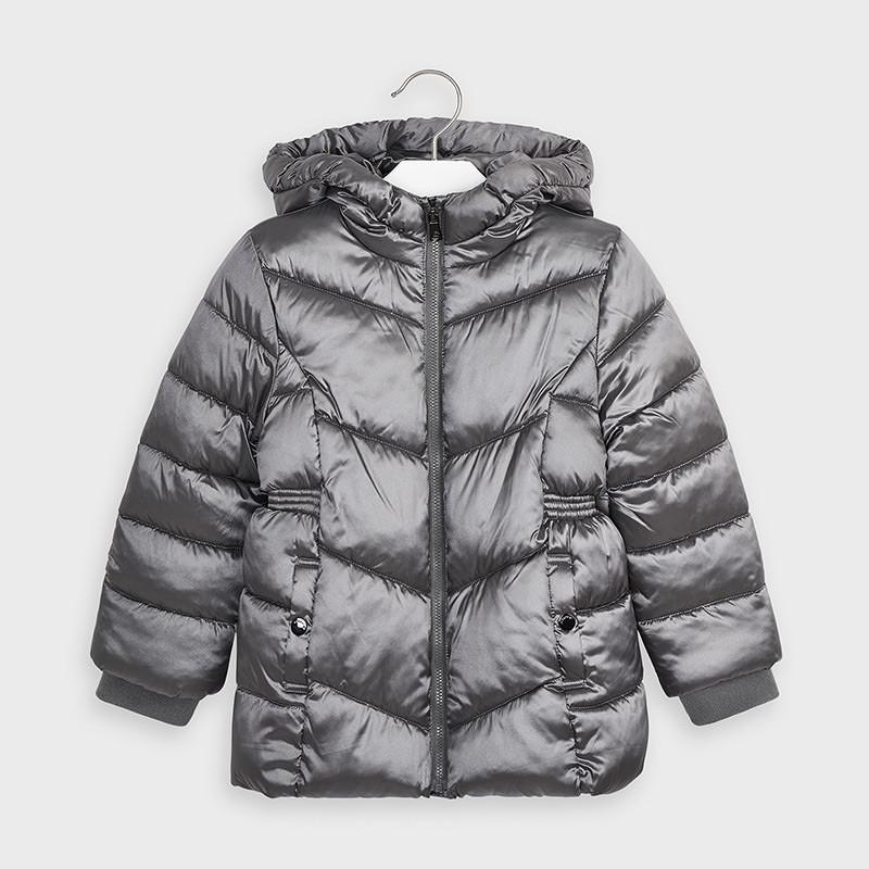 Χειμερινό, γκρι μπουφάν με ελαστική μέση, για κορίτσι  189787
