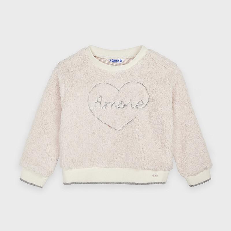 Βελούδινη, μπεζ μπλούζα με επιγραφή Amore για κορίτσι  189797