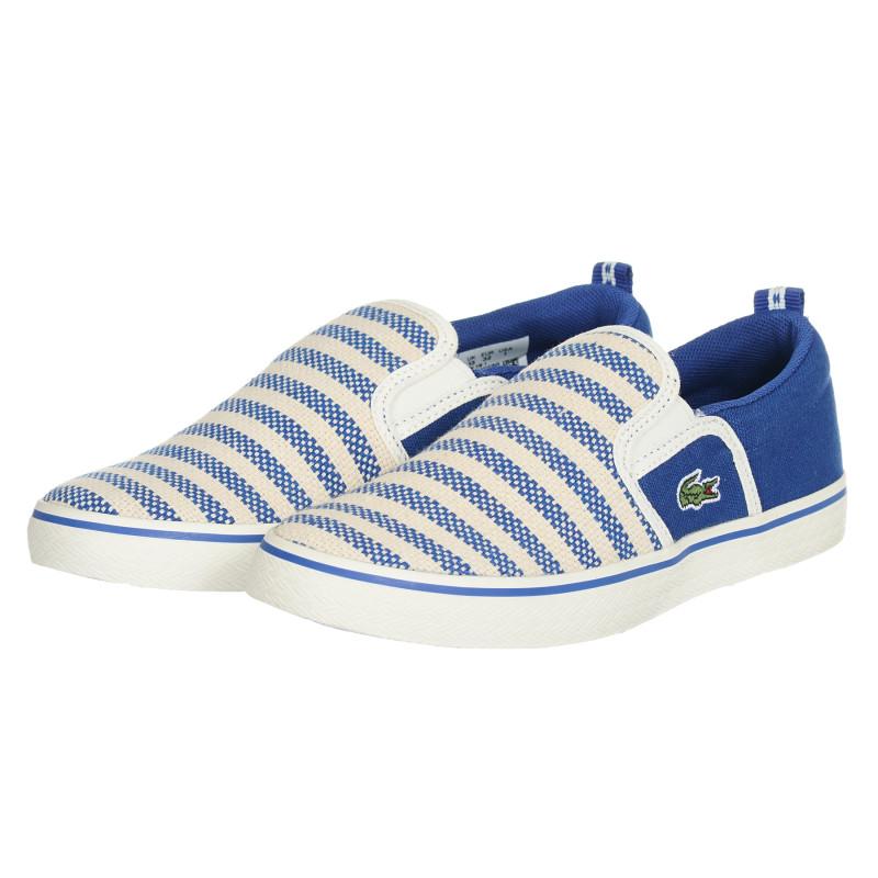 Υφασμάτινα sneakers σε μπλε και μπεζ χρώμα  202570