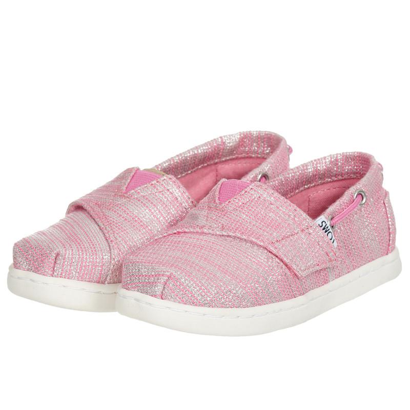 Υφασμάτινα sneakers σε ροζ και ασημί χρώμα  202837