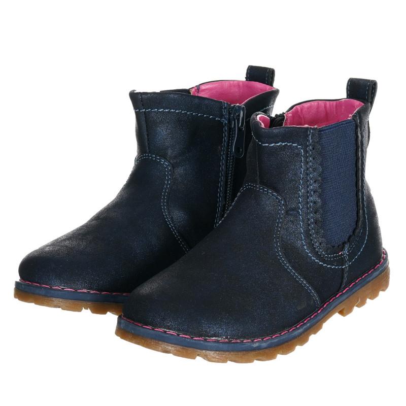 Μπότες με δερμάτινη σόλα, μπλε  203204