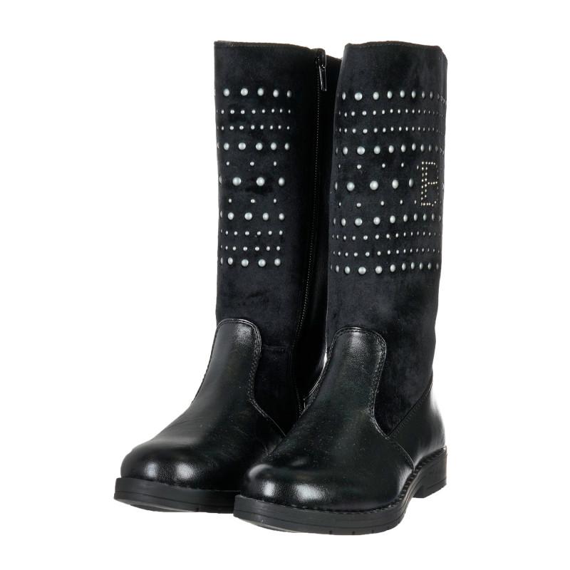 Γνήσιες δερμάτινες μπότες - μαύρες  203360