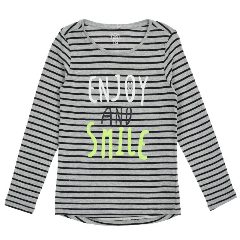 Ριγέ γκρι μπλούζα με επιγραφή  203783