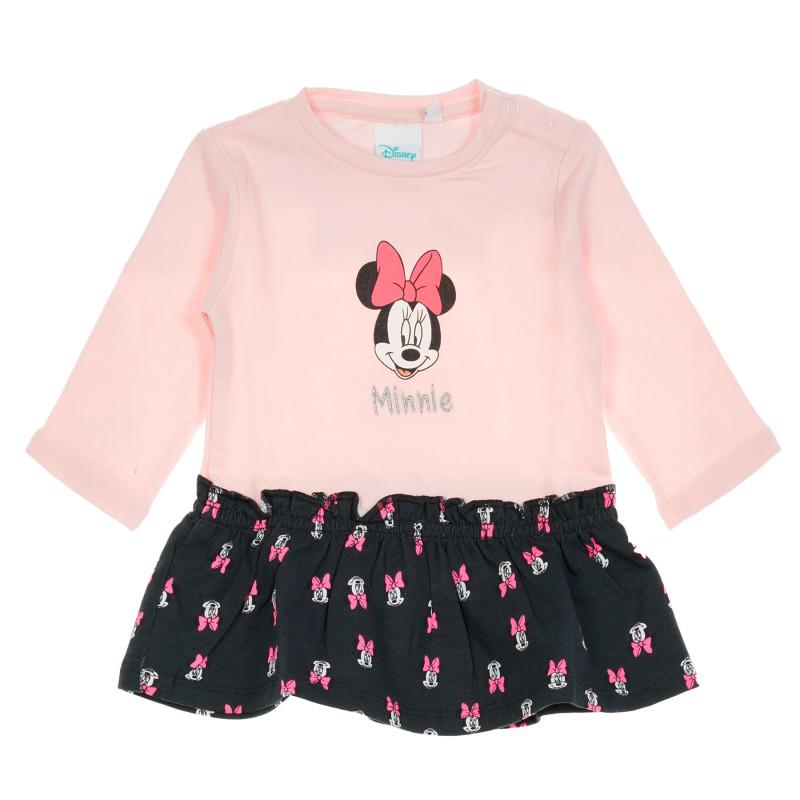 Βαμβακερό, βρεφικό φόρεμα Μίνι Μάους, σε ροζ και μαύρο χρώμα  204205