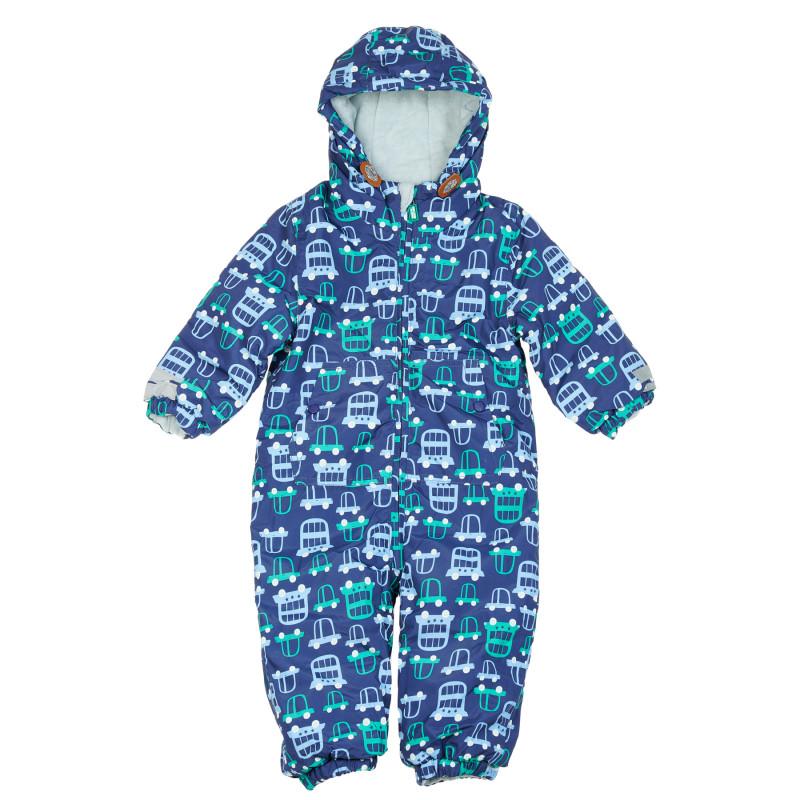 Μονοκόμματο snowsuit με τύπωμα αυτοκινήτου για μωρό, μπλε  204250