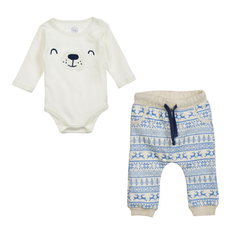 Βρεφικό σετ φορμάκι και παντελόνι, σε μπεζ και μπλε χρώμα  204380