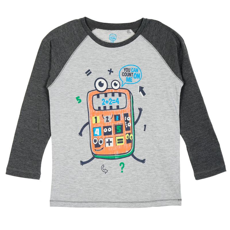 Μπλούζα με γραφιστική εκτύπωση, γκρι  205467