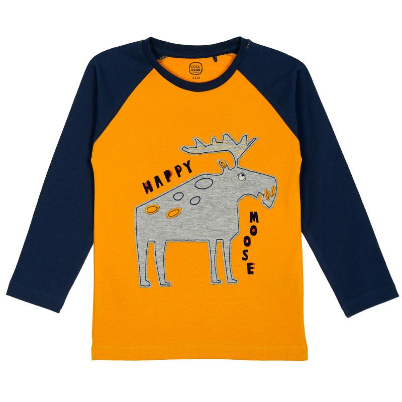 Κίτρινη μπλούζα με μπλε μανίκια  205501