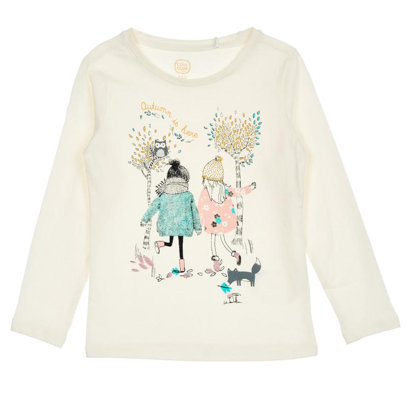 Μπεζ μπλούζα με τυπωμένα σχέδια  206458