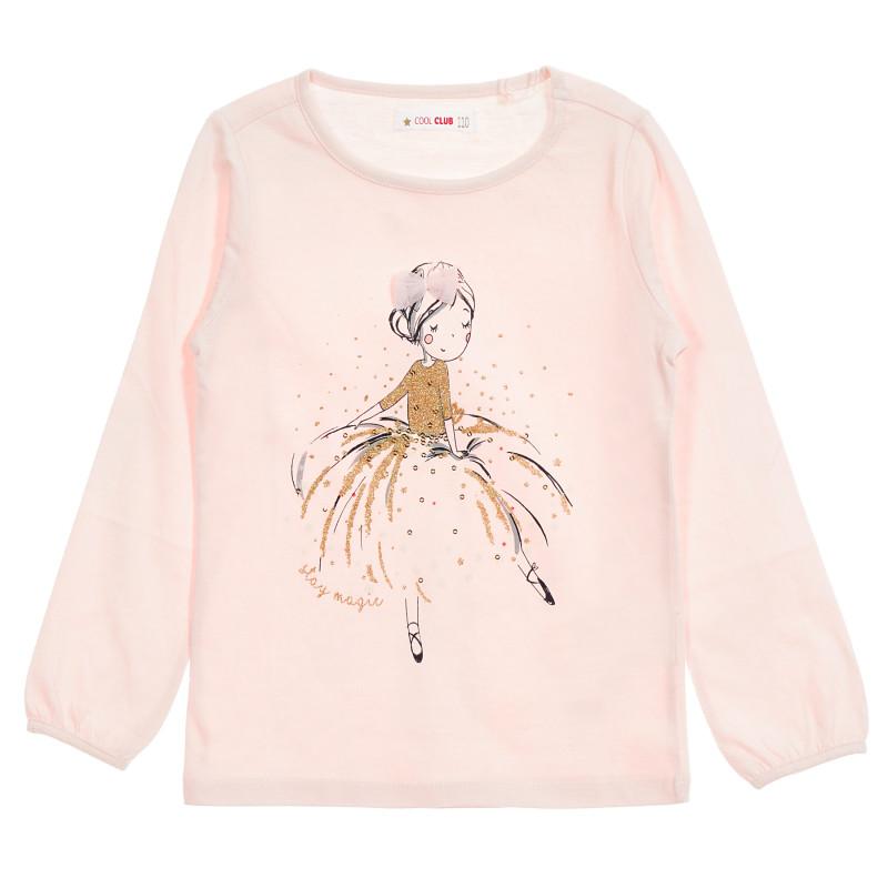 Μπλούζα με γυαλιστερή εκτύπωση, ροζ  206483