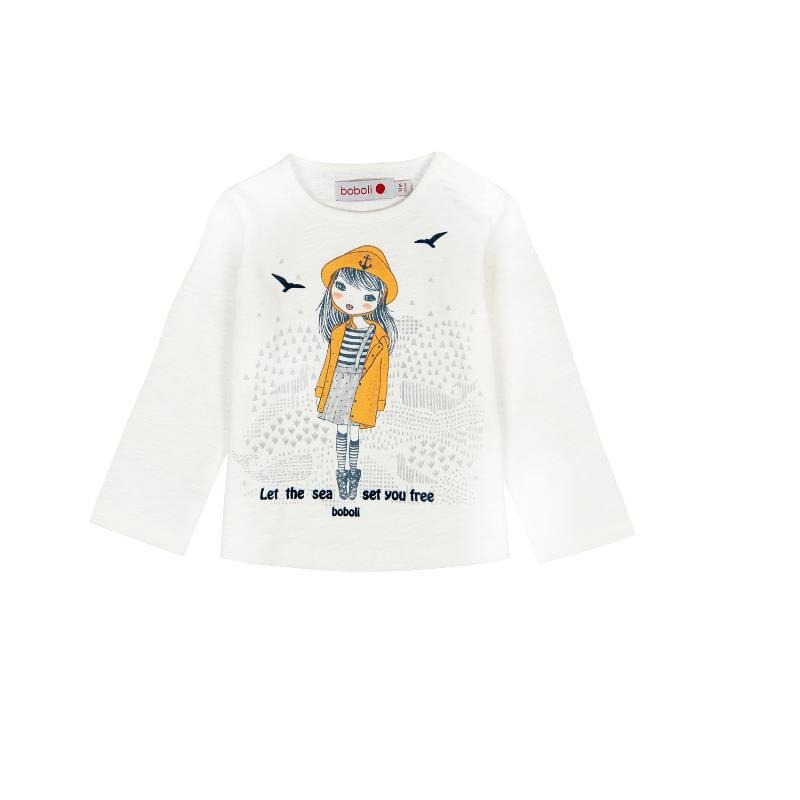 Mακρυμάνικη, βαμβακερή μπλούζα, σε λευκό χρώμα με υπέροχα σχέδια  207