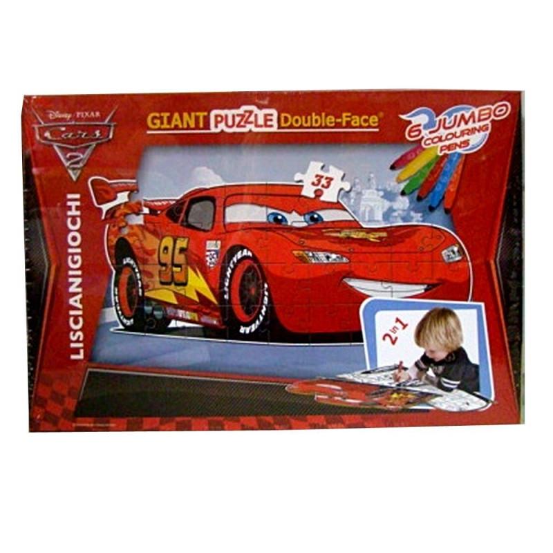 """Παιδικό παζλ """"Αυτοκίνητα"""" 2 σε 1 με χρωματιστούς μαρκαδόρους, 33 κομμάτια  207092"""