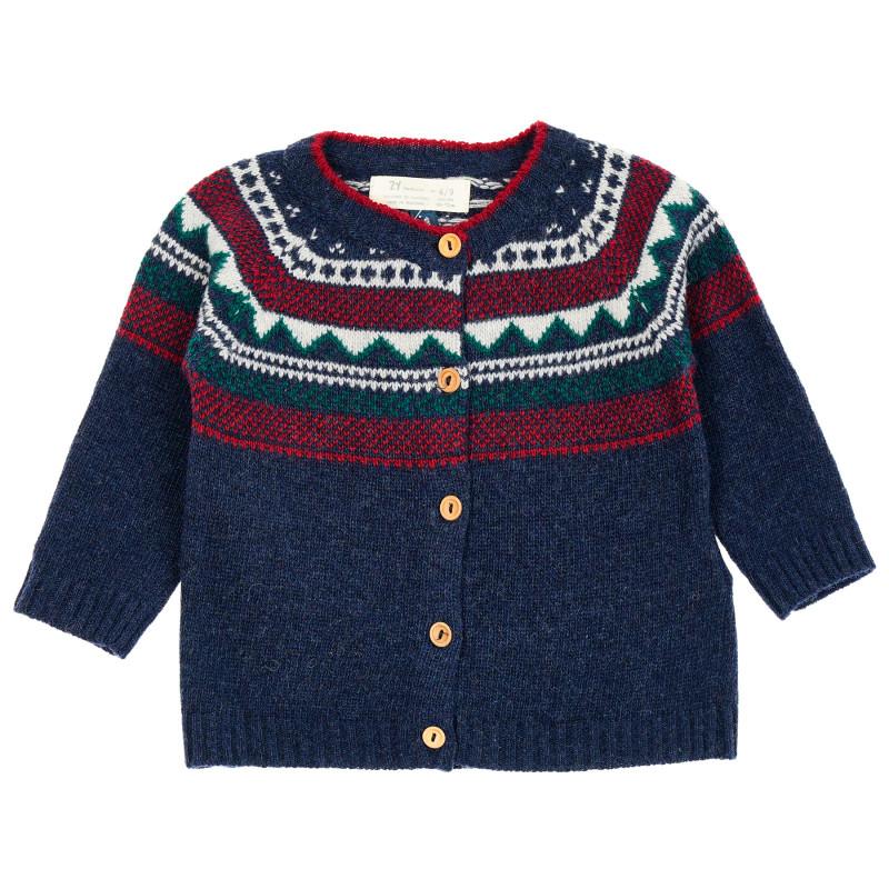 Πλεκτή ζακέτα με σκανδιναβικό σχέδιο για μωρά, μπλε  208460