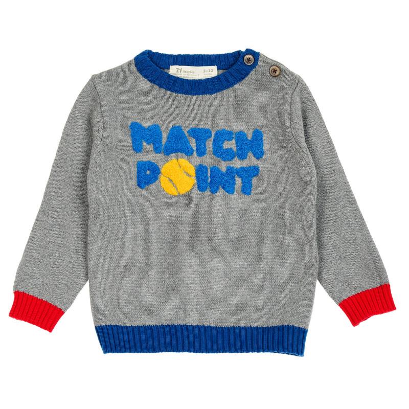 Βαμβακερό πουλόβερ με την επιγραφή Match point για μωρά  208911