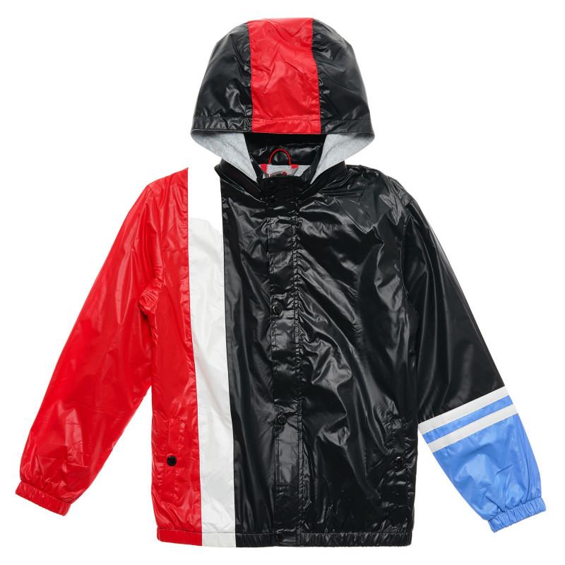 Λεπτό μπουφάν με κουκούλα για αγόρια, μαύρο και κόκκινο  216583