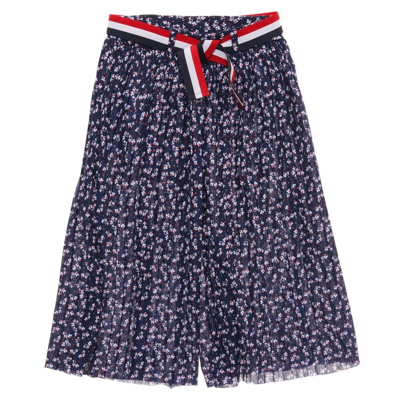 Φαρδύ παντελόνι για κορίτσια, σκούρο μπλε με στάμπα λουλουδιών  216595