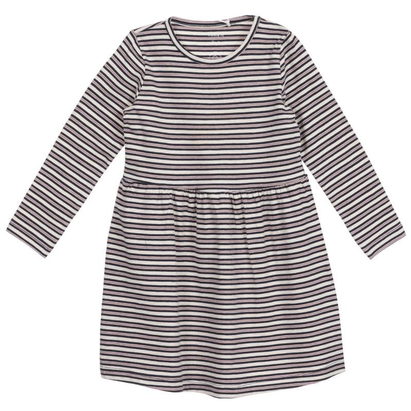 Βαμβακερό, μακρυμάνικο φόρεμα με μπλε και άσπρες ρίγες, για κορίτσι  219602