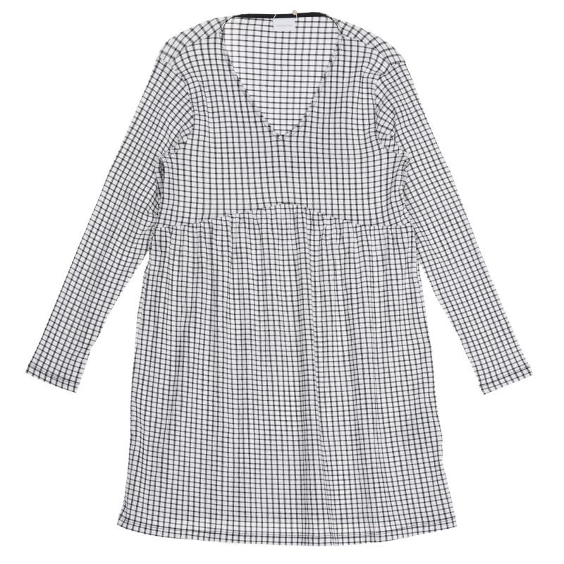 Μακρυμάνικο καρό φόρεμα για εγκύους  222200