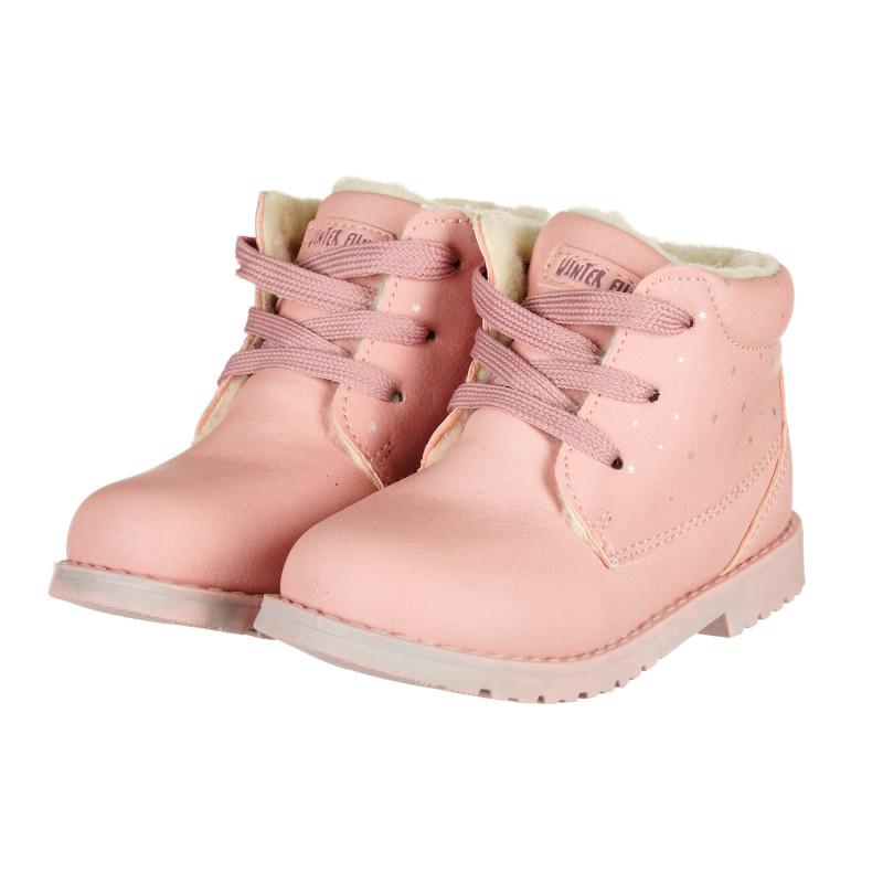 Μπότες με κορδόνια, ροζ  222243