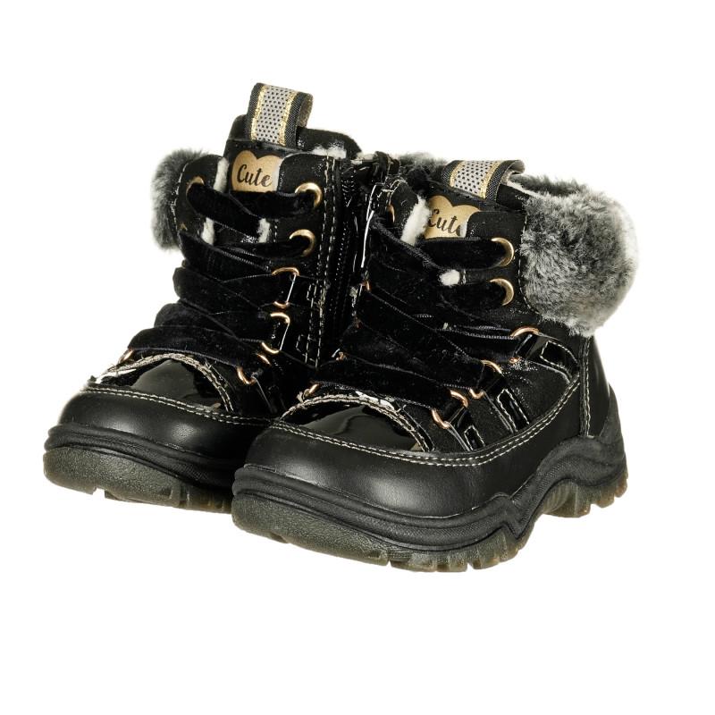Μπότες με γέμισμα, μαύρες  222261