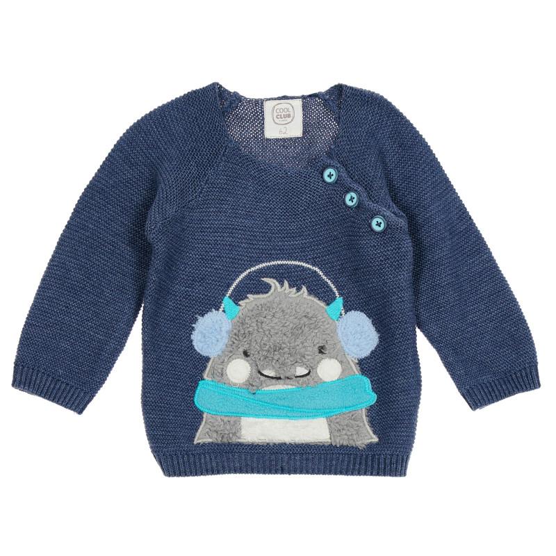 Βρεφικό πουλόβερ με βελούδινο απλικέ, μπλε  222267