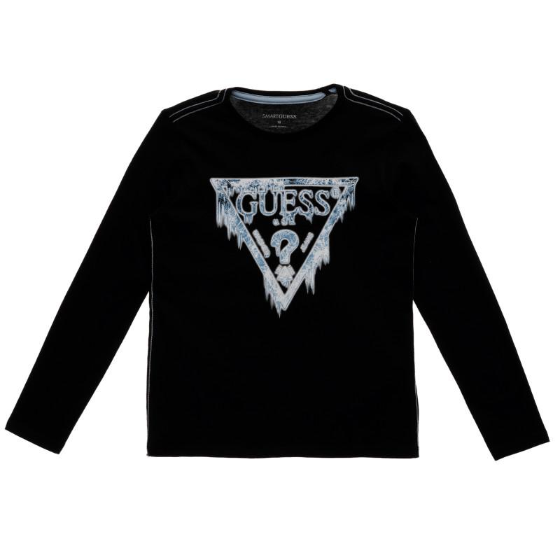 Μαύρη, μακρυμάνικη, βαμβακερή μπλούζα με το λογότυπο της μάρκας ,για αγόρι  223384