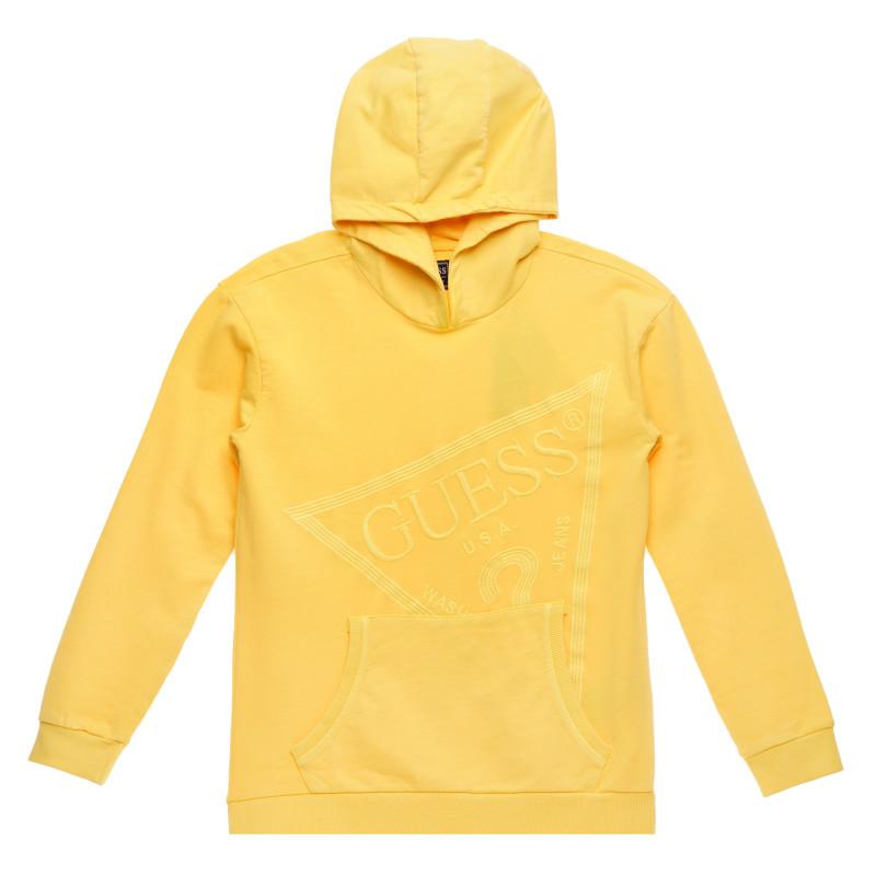 Κίτρινο, βαμβακερό φούτερ με ανάγλυφο λογότυπο μάρκας, για αγόρι  223408