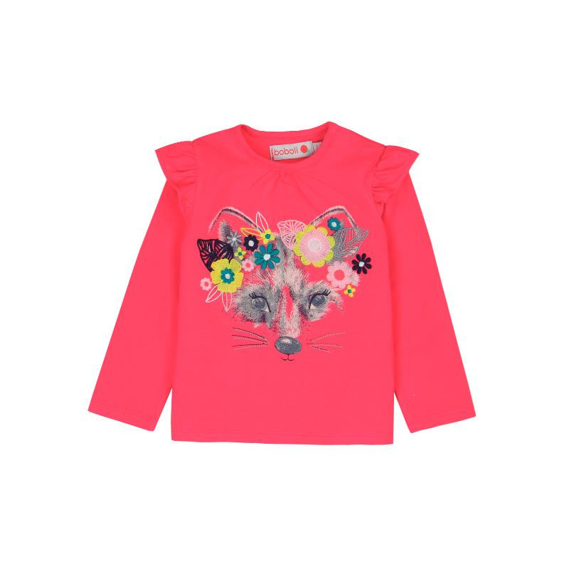 Βαμβακερή, μακρυμάνικη μπλούζα με βολάν στους ώμους, σε ροζ χρώμα  231