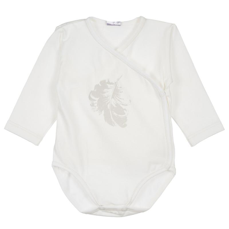 Βαμβακερό, μακρυμάνικο φορμάκι  με τυπωμένο σχέδιο ασημί φτερά, για κορίτσι  234940