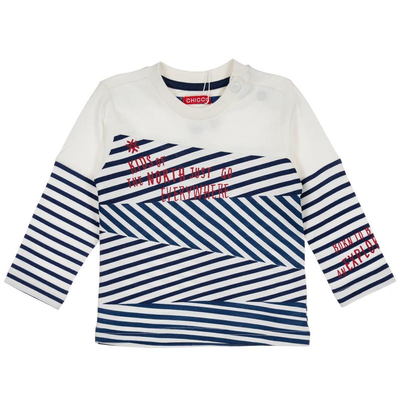 Μακρυμάνικο πουκάμισο Chicco για αγόρι με στάμπα, μπλε και άσπρη ρίγα  235852