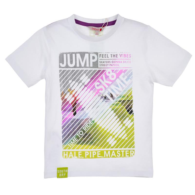 Βαμβακερό μπλουζάκι Boboli boy με γραφική εκτύπωση, λευκό  235868
