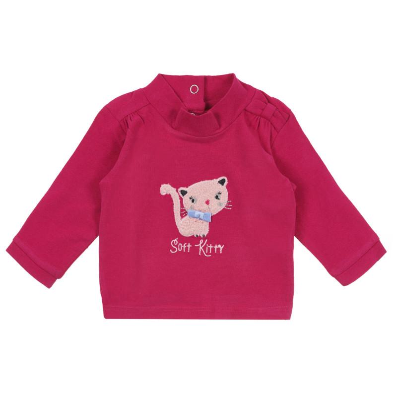 Μακρυμάνικη μπλούζα για κορίτσια με τύπωμα, ροζ  241298