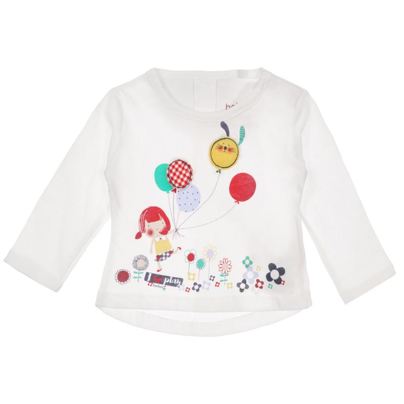 Βαμβακερή μπλούζα με μακριά μανίκια Boboli, λευκή  250960