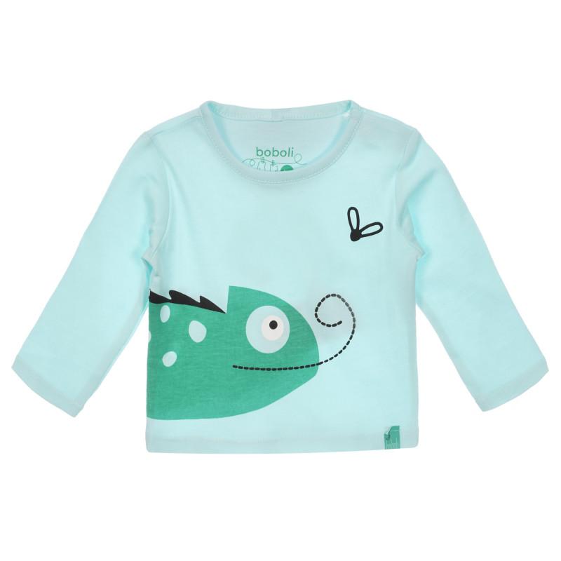 Βαμβακερό πουκάμισο με μακριά μανίκια Boboli, πράσινο μέντα  250971