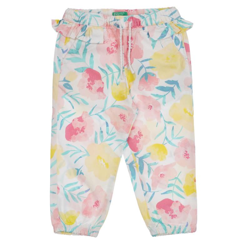 Βαμβακερό παντελόνι με floral print για μωρό, λευκό  260811