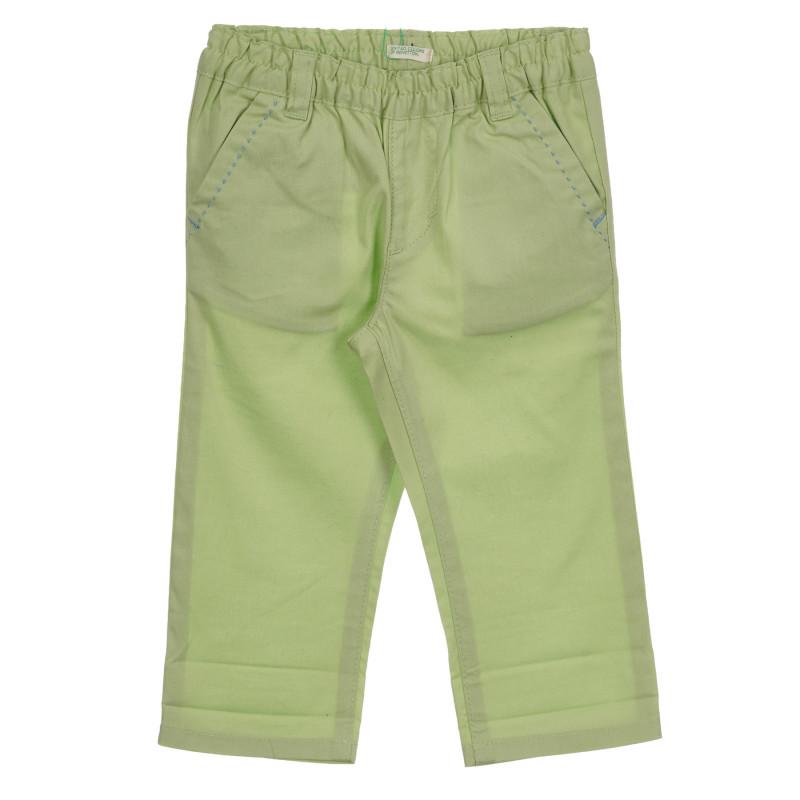 Βαμβακερό παντελόνι με γαλάζιες πινελιές, πράσινο  260852
