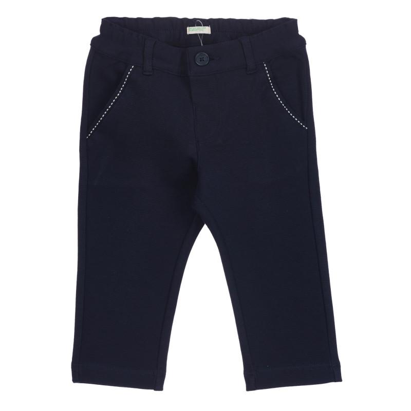 Ελαστικό παντελόνι με λευκές πινελιές για μωρό, μπλε  260854