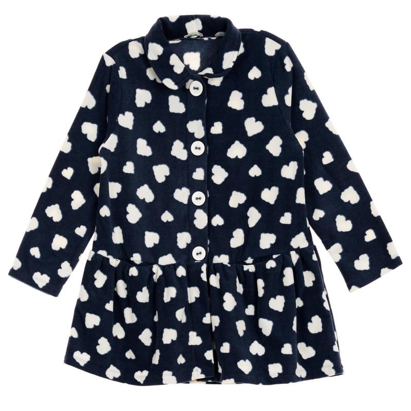 Πολικό σακάκι με εκτύπωση καρδιών, σκούρο μπλε  260949