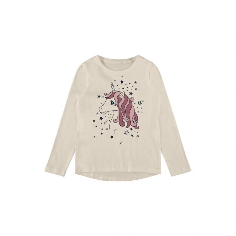 Μπλούζα από οργανικό βαμβάκι με μονόκερο, μπεζ  262166