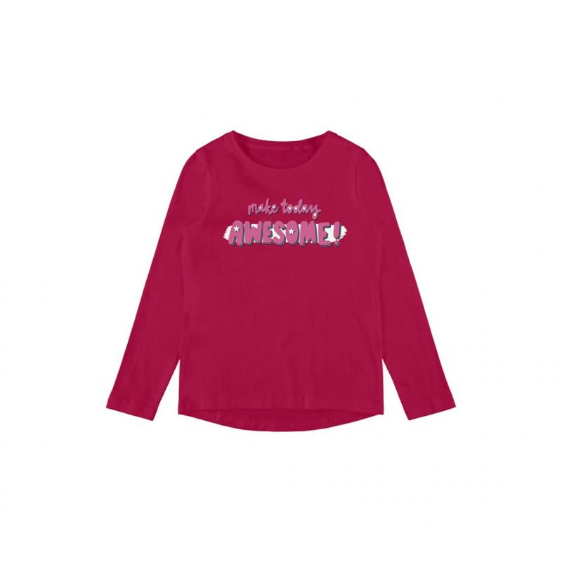 Οργανική βαμβακερή μπλούζα με εκτύπωση Awesome, σκούρο ροζ  262167