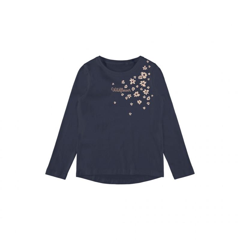 Οργανική βαμβακερή μπλούζα με floral print, σκούρο μπλε  262168
