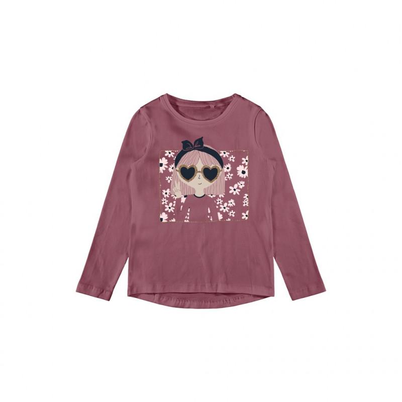 Οργανική βαμβακερή μπλούζα με εκτύπωση κοριτσιού mε γυαλιά, ροζ  262169