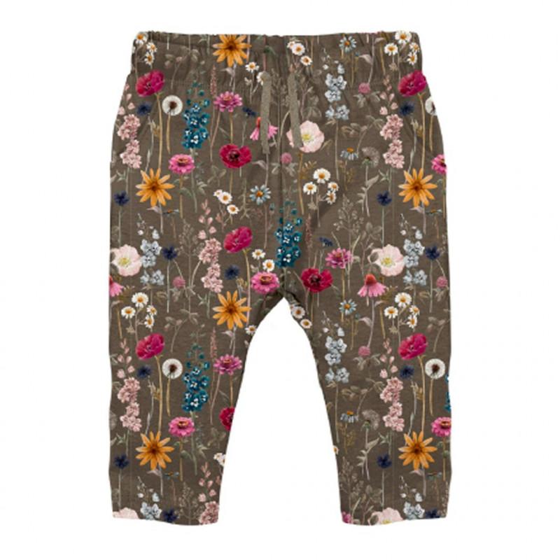 Οργανικό βαμβακερό παντελόνι με floral print, πράσινο  262194