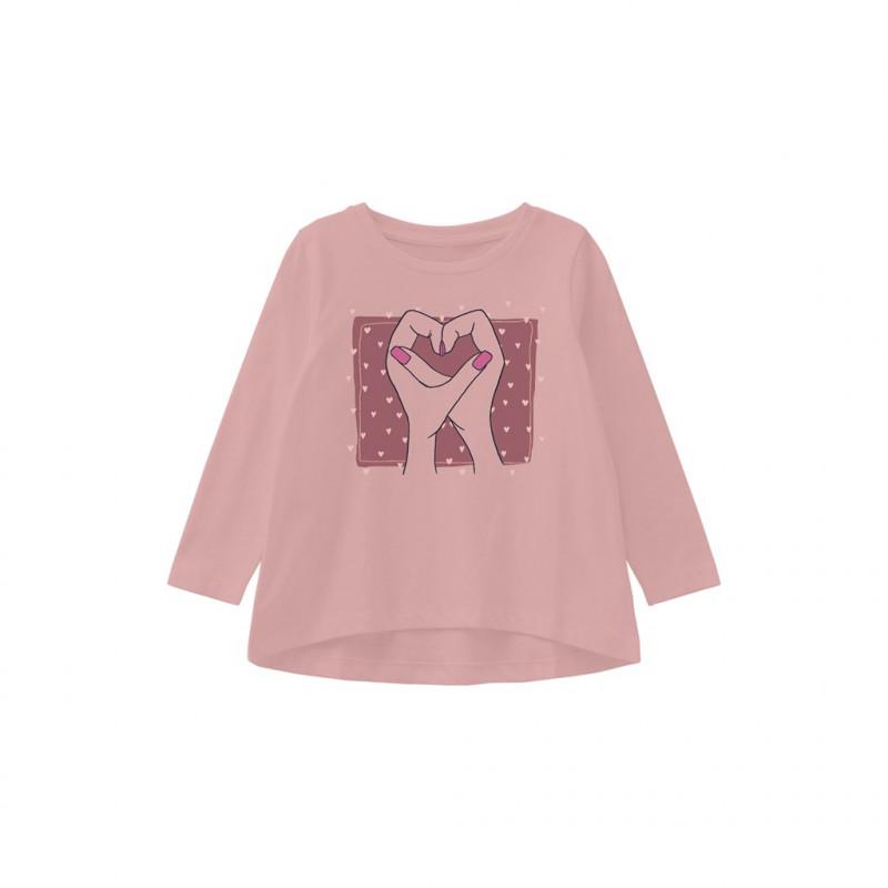 Οργανική βαμβακερή μπλούζα με εκτύπωση καρδιάς, ροζ  262252