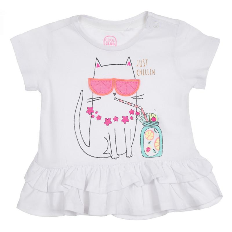 Μπλουζάκι με βρεφικό τύπωμα με γατάκι, λευκό  270262