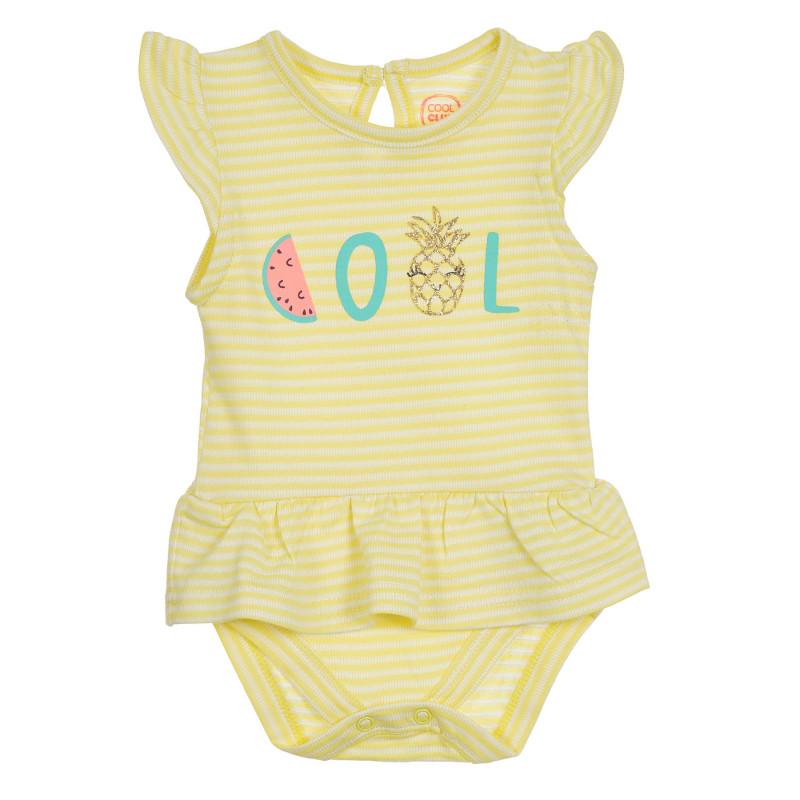 Φόρεμα τύπου κορμάκι με γράμματα για μωρά, κίτρινο  270280