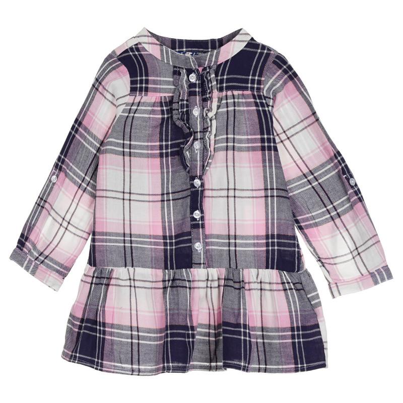 Cool Club βαμβακερό βρεφικό πουκάμισο - φόρεμα σε ροζ και γκρι καρό  270450