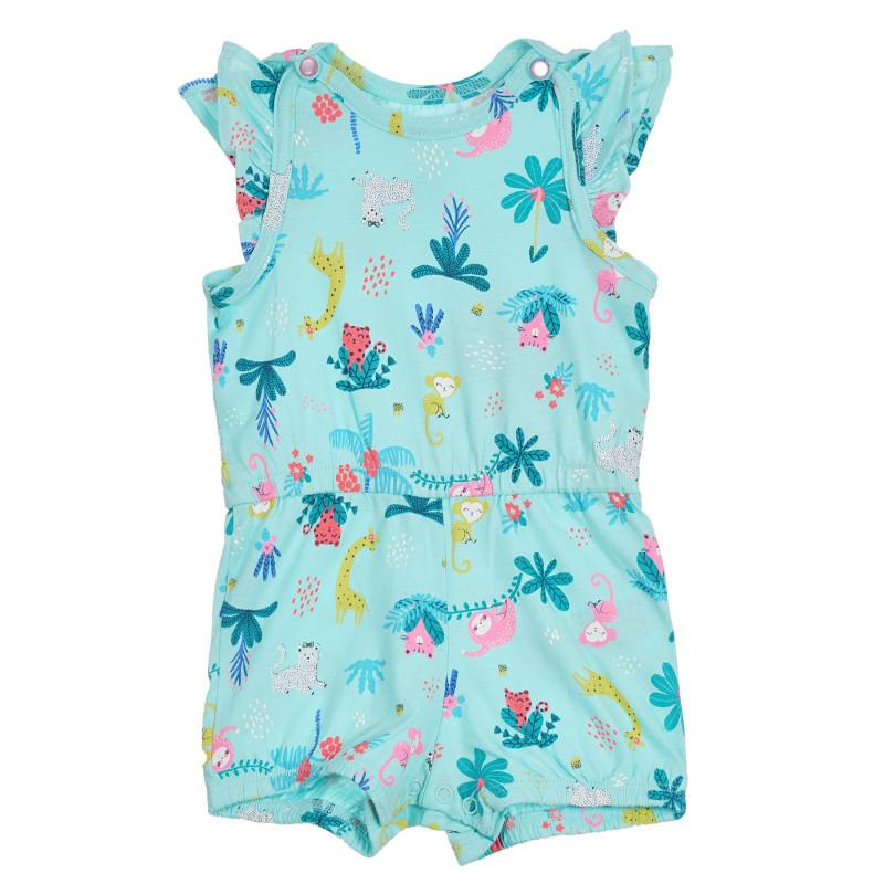Βαμβακερή κοντή ολόσωμη φόρμα με πτυχώσεις και καλοκαιρινό τύπωμα για μωρά  270610