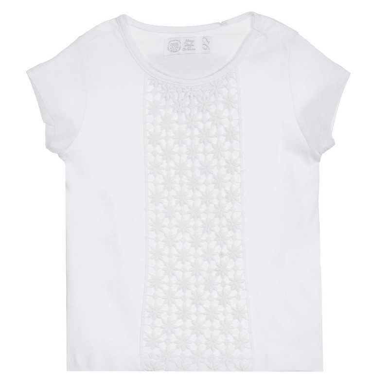 Cool Club βαμβακερό μπλουζάκι με πλεκτή δαντέλα, λευκό για κορίτσια  270614